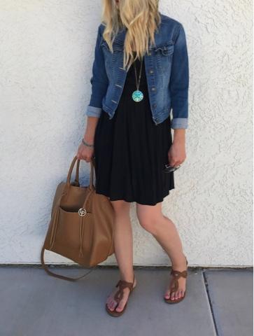 Thrifty Wife, Happy Life- Black dress with denim jacket