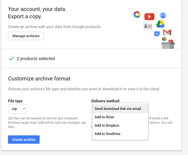 Exporting google takeout upload