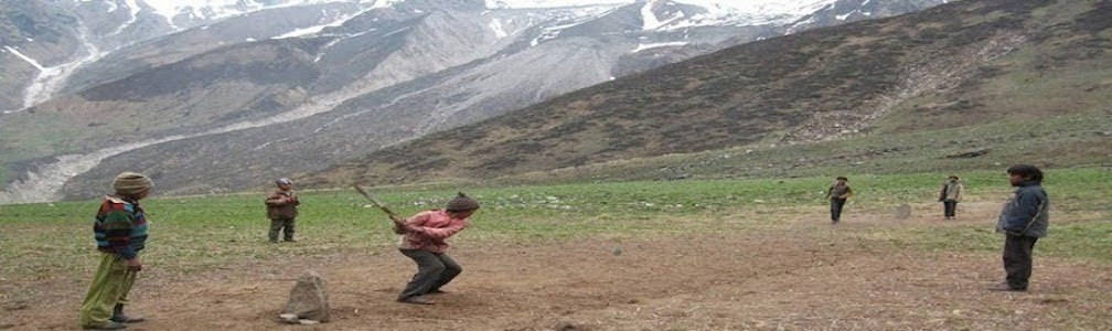 "Boys playing cricket near Himalayas in Darchula.Winner will get yarshagumba from loser"" width="
