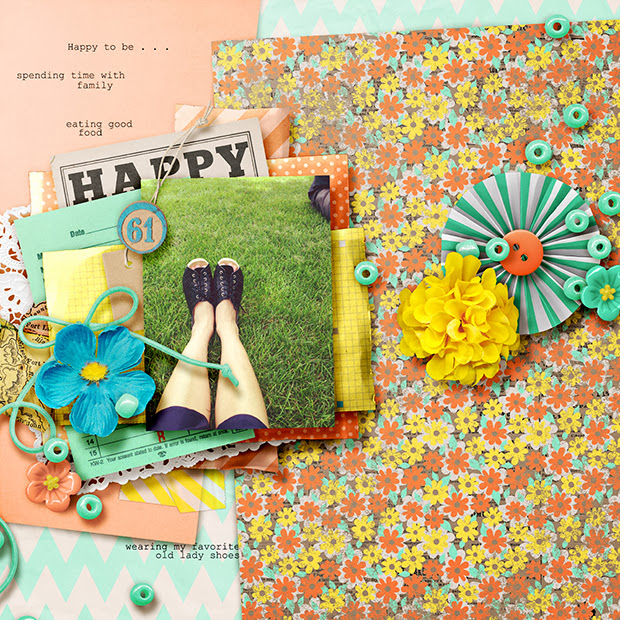 Happy // 12x12 // Sixlet #4 - Carefee & Happy As Can Be by Jenn, Shawna, Heather, Kristin, Erica & Studio Basic