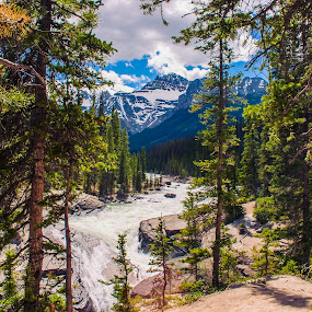 Sunwapta Falls, Jasper National Park by Jordan  Richardson - Landscapes Forests ( #waterfall, mountain, #jaspernationalpark, #explore, #adventure, #forest, #canada, #travel )