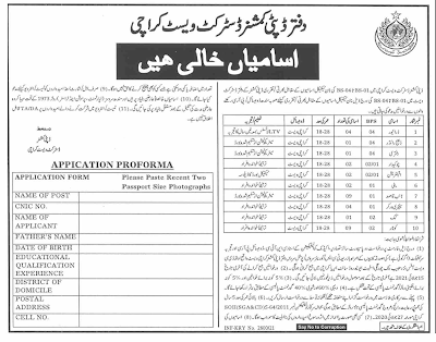 DC Office Karachi Jobs 2021