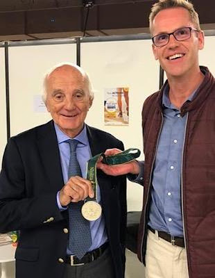 """Retrouvailles entre Bertrand Vecten et Bernard Saillant.(voir article """"L'aviron est un beau sport. Merci de l'avoir recommandé."""" sur notre site."""