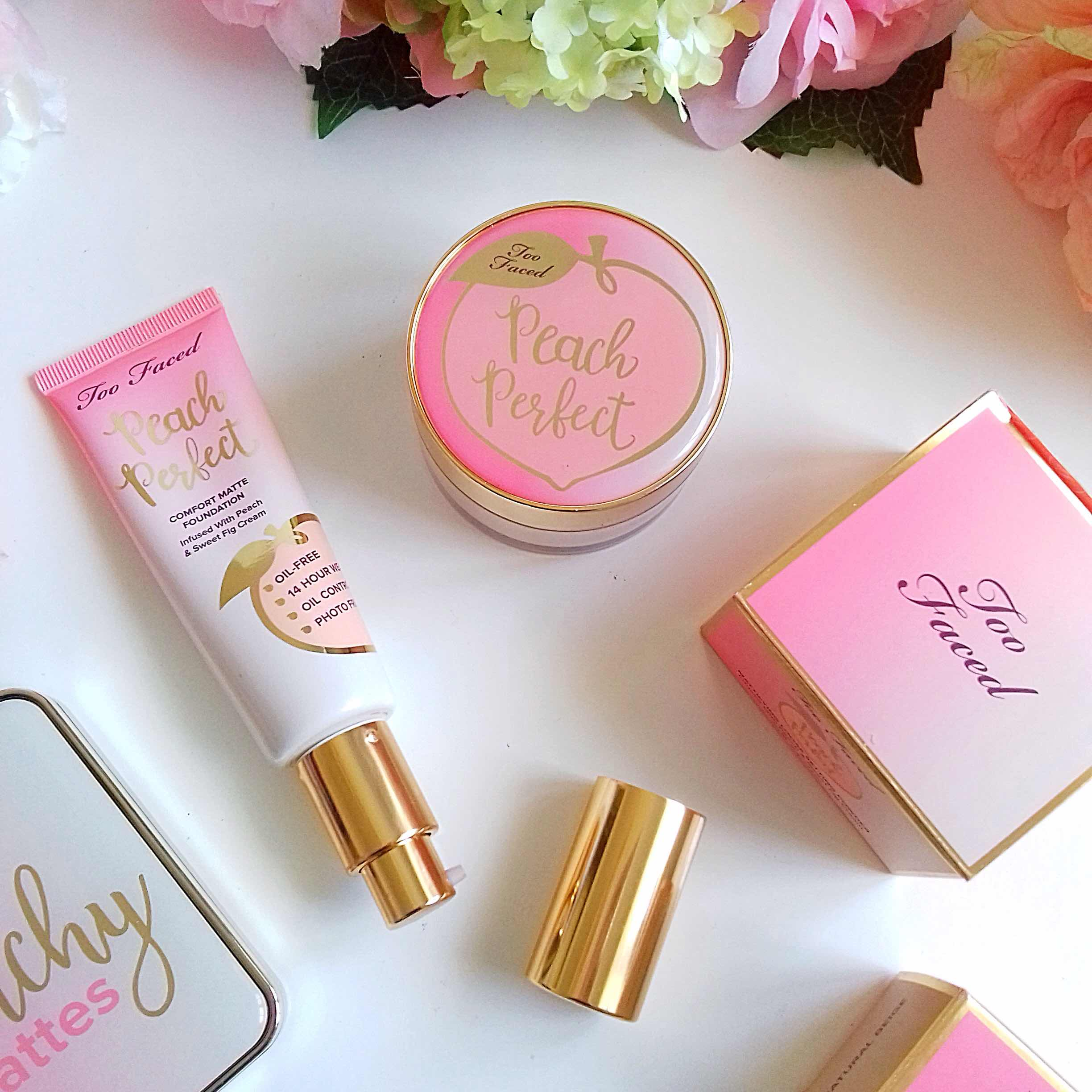 too faced, peach perfect comfort matte foundation, mattifying setting powder, review, makeup