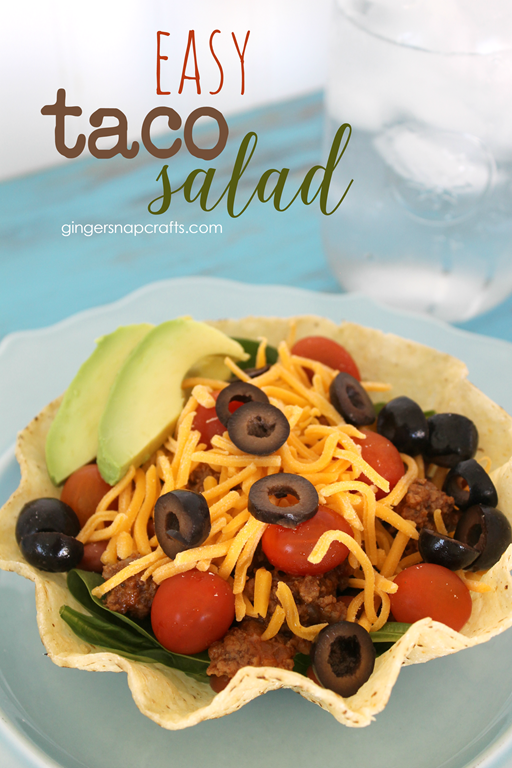 Easy Taco Salad at GingerSnapCrafts.com #recipe #ad_thumb