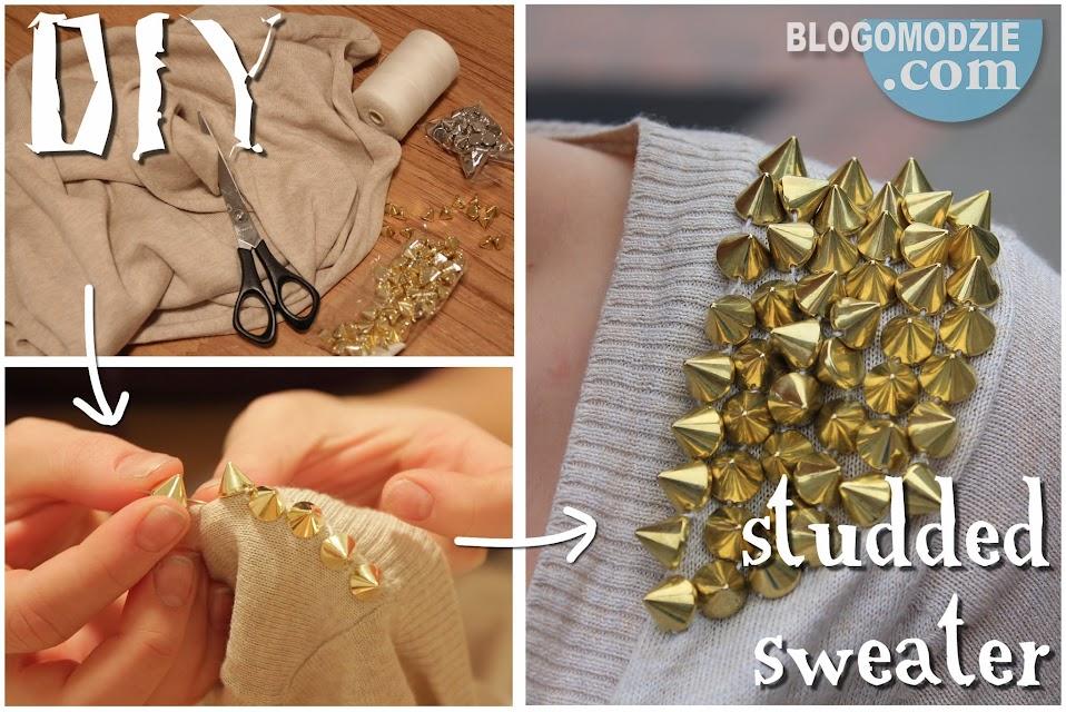 DIY sweter z ćwiekami na ramionach