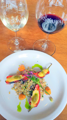 TeSóAria Vegan Brunch 2nd course Cashew Cheese Stuffed Peppers with Tabouleh, Sweet Romanesco and Mint Oil paired with 2015 Riesling and 2014 Bull's Blood