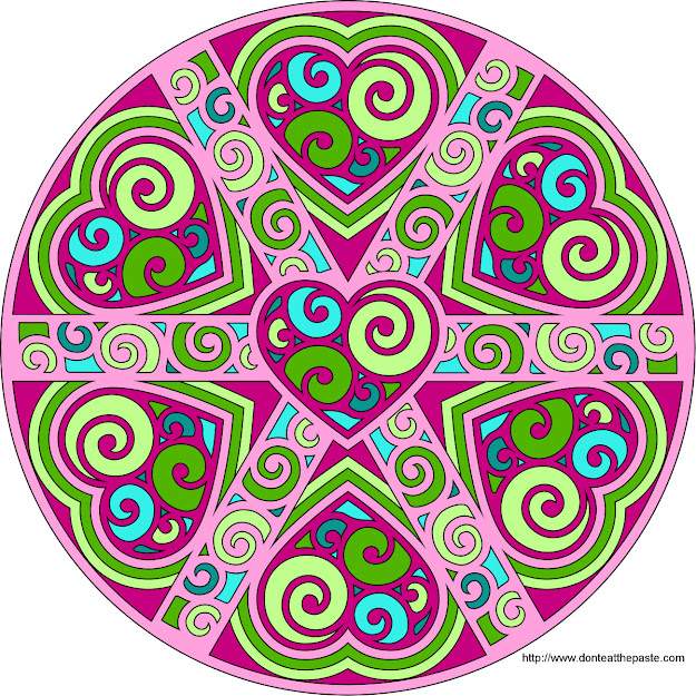 Swirled Hearts Mandala Blank Available To Print And Color In Both  Transparent  And