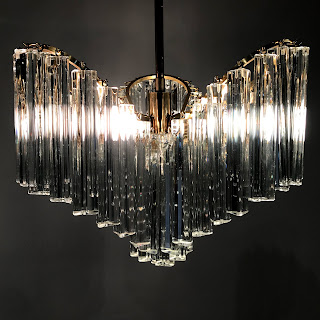 Mid-Century Camer Style Crystal Chandelier