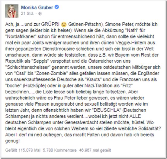 Monika Gruber über Simone Peter Grüpri