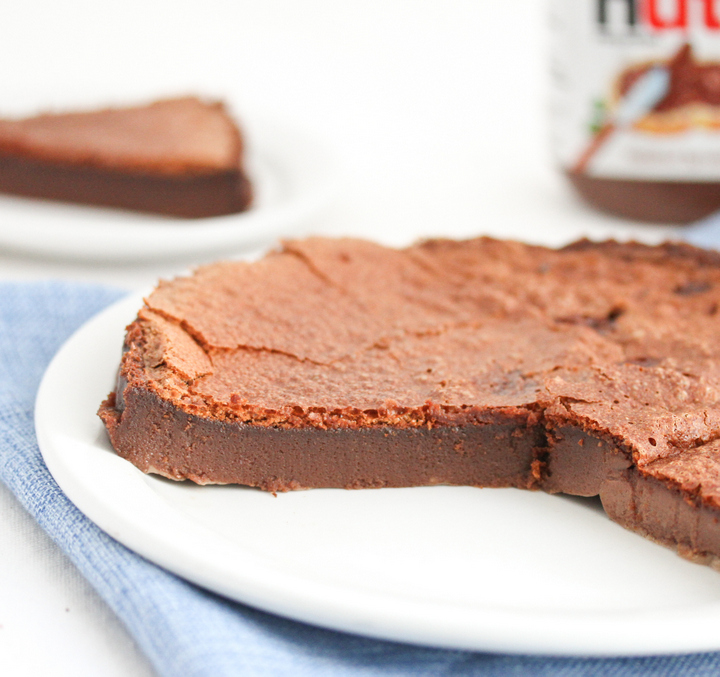 close-up of Flourless Nutella Cake