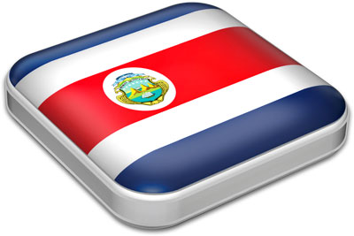 Flag of Costa Rica with metallic square frame
