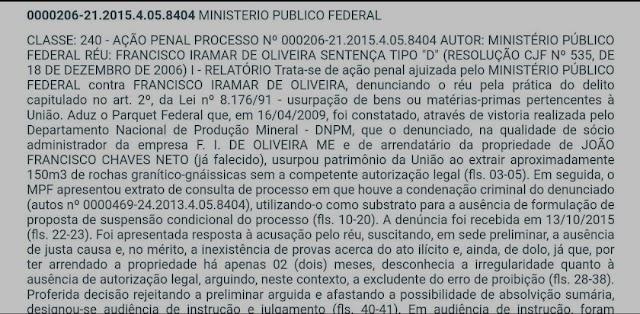 CRIME AMBIENTAL: SEGUNDO MP, IRAMAR USURPOU ROCHA ILEGAL DE MARCELINO VIEIRA