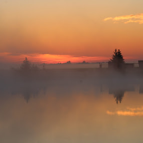 Sun Glow by Rose McAllister - Landscapes Sunsets & Sunrises ( sky-water-glow, pond, sun,  )