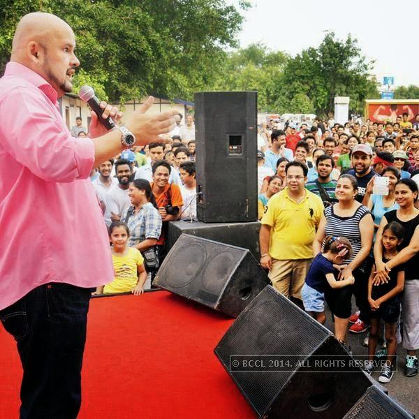 Harith Iskander interacts during the Raahgiri Day, in Delhi.
