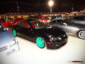 Toyota Celica with TE37 green wheels