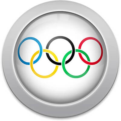 Olympic flag icon with a silver frame