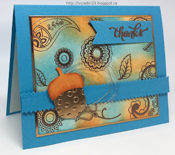 Linda Vich Creates: Paisley Thank You. Copper embossed paisley stamps serve as the backdrop to a copper acorn on this lovely thank you card.