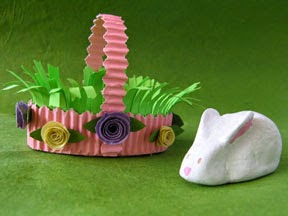 paper clay Easter bunny and basket
