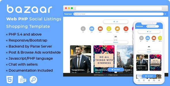 Bazaar v1.0 – Web PHP Social Listings/Classifieds Shopping Template