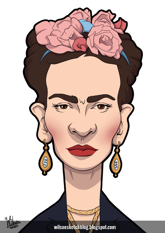 Cartoon caricature of Frida Khalo.