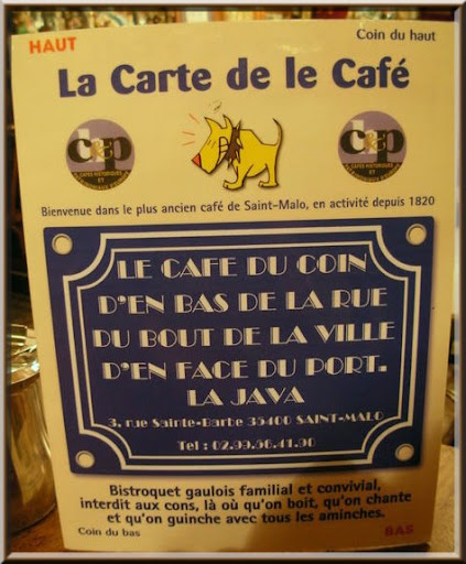 St Malo le café la java pancarte