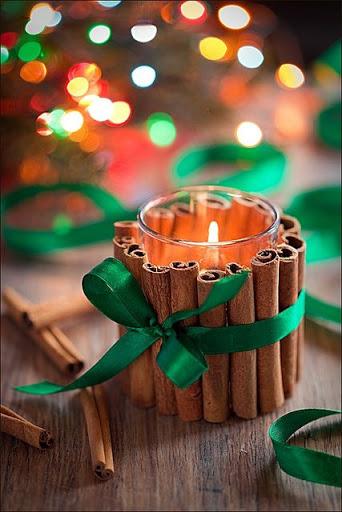 velas de natal com canela