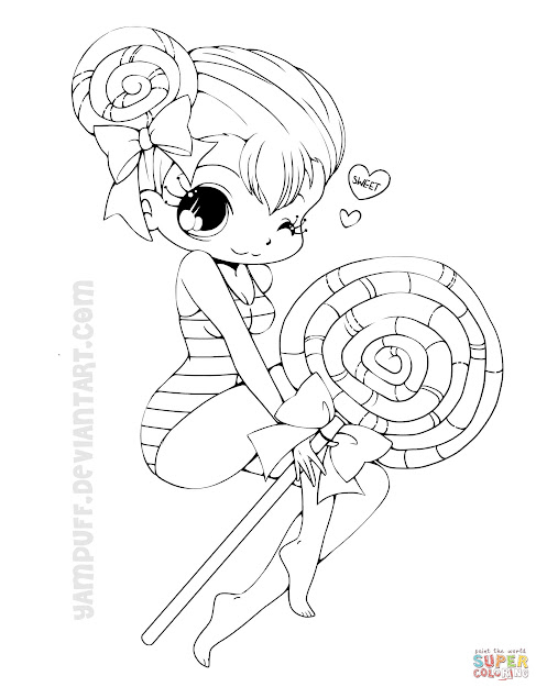 Click The Chibi Lollipop Girl Coloring Pages
