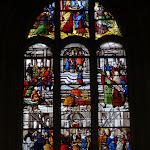 """Église Saint-Pierre de Montfort-l'Amaury : vitrail """"Vie de la Vierge"""""""
