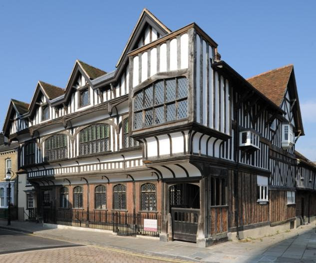 Southampton's most important historic building: Front view of Tudor House. A timber-framed building facing St Michael's Square, built in the late 15th Century