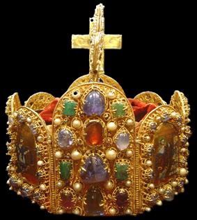 Corona del Sacro Imperio (2ª mitad del siglo X), conservada actualmente en la Schatzkammer de Viena