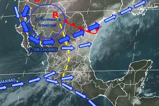 Mapa meteorológico del 8 de enero de 2013 para la República Mexicana