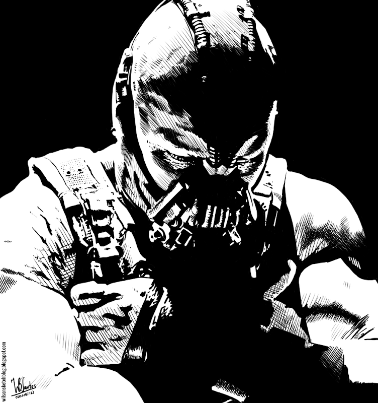 Ink drawing of Bane from Dark Knight Rises, using Krita 2.4.