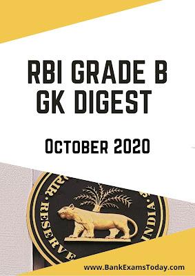 RBI Grade B GK Digest: October 2020