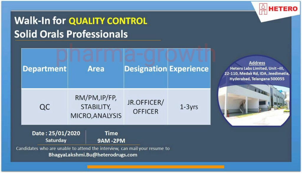 Hetero - Walk in interview for Quality Control on 25th Jan 2020