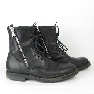 Saint Laurent Black Leather Combat Boots