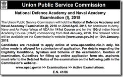 UPSC NDA NA I Exam 2018 Notice www.indgovtjobs.in