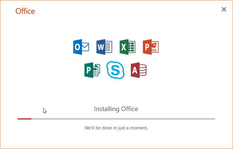 Instalação Office - progresso da instalação