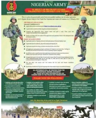 Nigerian Army 81RRI For 2021/ 2022 Recruitment