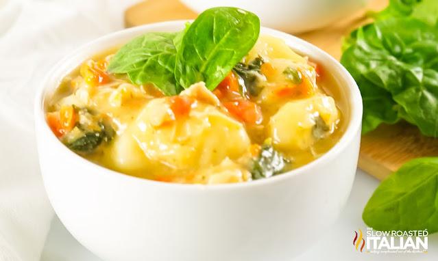 chicken gnocchi soup recipe in a bowl