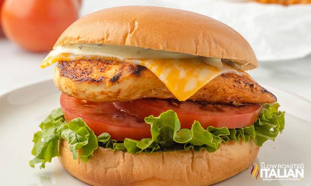 spicy chicken sandwich on a white plate