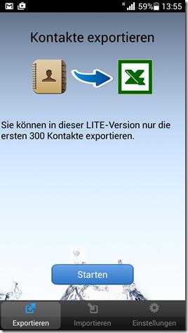Android Kontakte exportieren in Excel