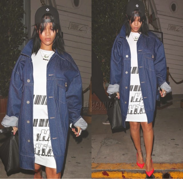 Rihanna in Matthew Dolan Denim Jacket, ASSK