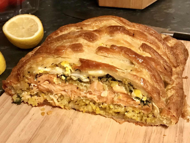 Salmon Coulibiac with quark butter pastry