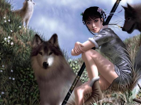 Girl With Dogs, Spirit Companion 1