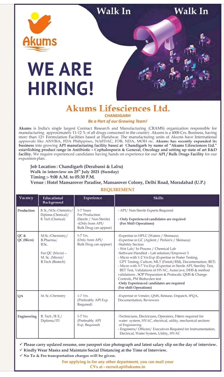 Walk-In At Akums Drugs For QA, QC, Microbiology, Engineering Department