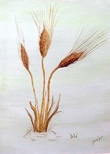 """""""Ble"""" (French Wheat) by artist J. Louvre Spezia. Watercolor. $250"""