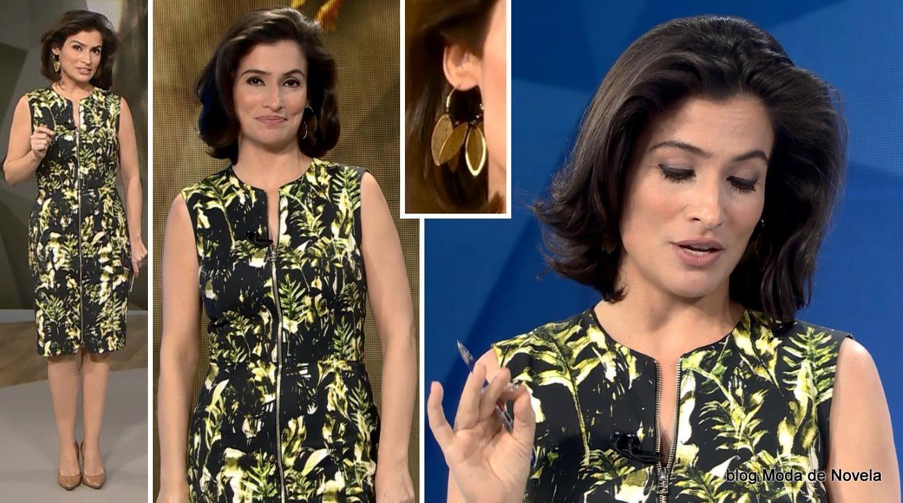 moda do programa Fantástico - vestido estampado da Renata Vasconcellos dia 20 de outubro