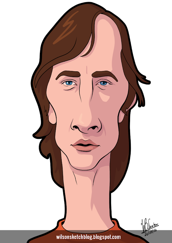 Cartoon caricature of Johan Cruyff.
