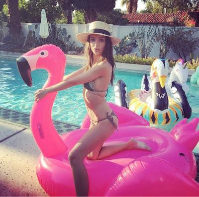Emily Ratajkowski at Coachella in Green Striped Tori Praver Bikini